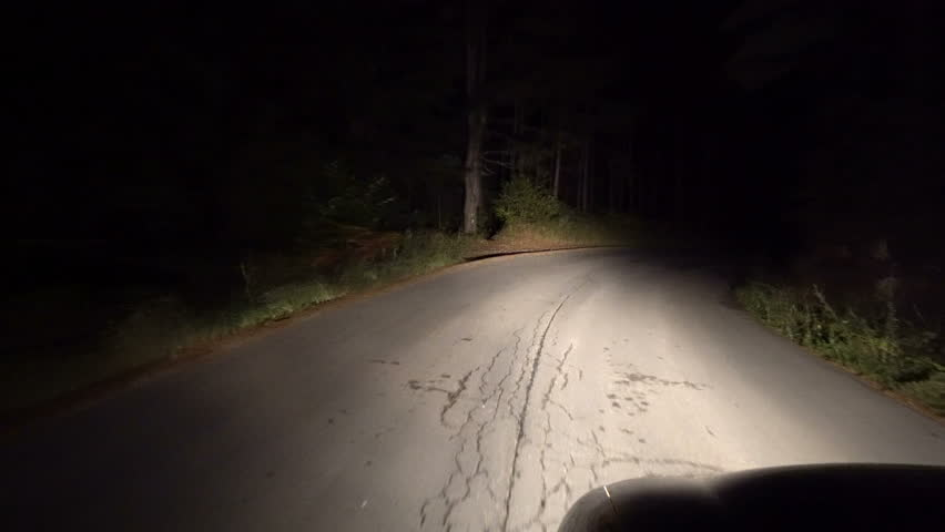 4K Driving Car on Road way in Night Dark, View of a Driver Traveling in Traffic in the Evening, Low Visibility on the Road, Pov