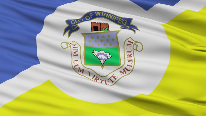 Winnipeg fair closeup flag, city of Canada, realistic animation seamless loop - 10 seconds long