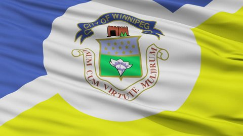 Winnipeg fair closeup flag, city of Canada, realistic animation seamless loop - 10 seconds long