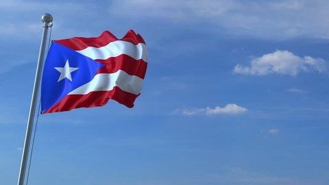 Commercial airplane flying above waving flag of Puerto Rico. Emigration or tourism related animation