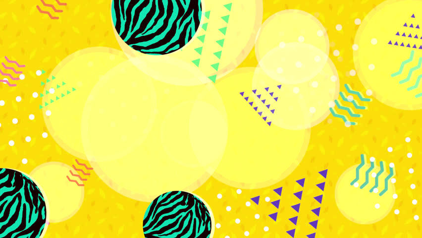 Summer vibe yellow geometric shapes background. (Looped)