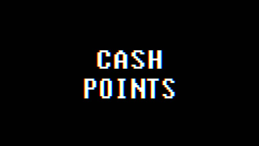 retro videogame CASH POINT text computer old tv glitch interference noise screen animation seamless loop New quality universal vintage motion dynamic animated background colorful joyful video #1009952177