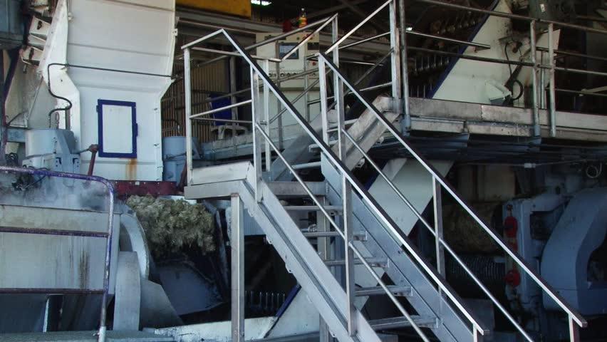 Main machine crashing sugar cain pulp at Depaz distillery on Martinique island