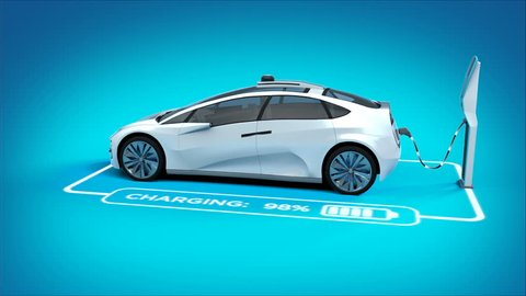 Futuristic electric self driving car charging in charging station. graphics showing charging progress. Blue background