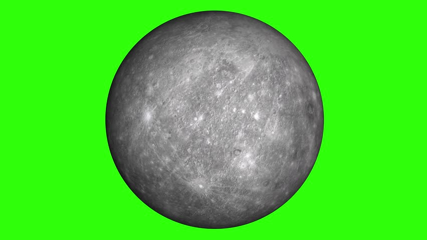 Solar system's planet of Mercury animation in green screen.  Mercury is rotating.  | Shutterstock HD Video #1009976477
