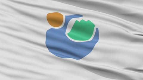 Tomioka close up flag, Gunma prefecture, realistic animation seamless loop - 10 seconds long
