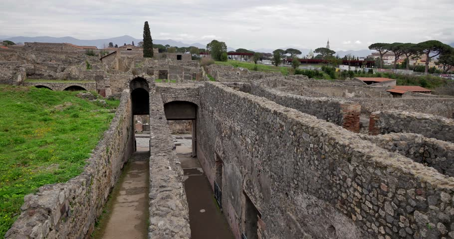 Inside of ruins in Pompei, Italy. Archeological park near Naples.