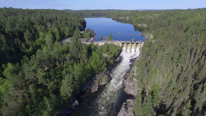 Hydroelectric Power Station, Waterfall at วิดีโอสต็อก (ปลอด