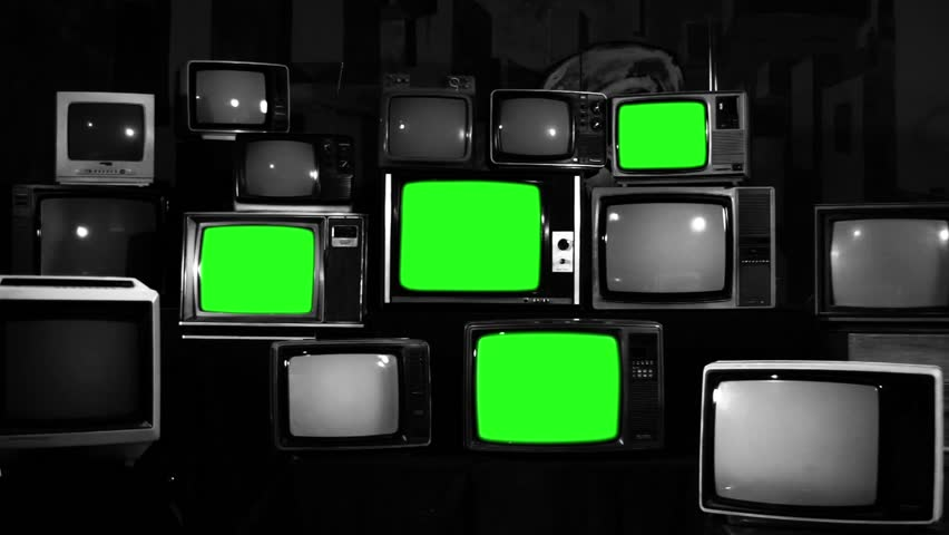 "Retro TVs turning on Green Screens. Black  and White Tone. Zoom Out. You can Replace Green Screen with the Footage you Want with ""Keying"" effect in After Effects (check out tutorials on YouTube). 
