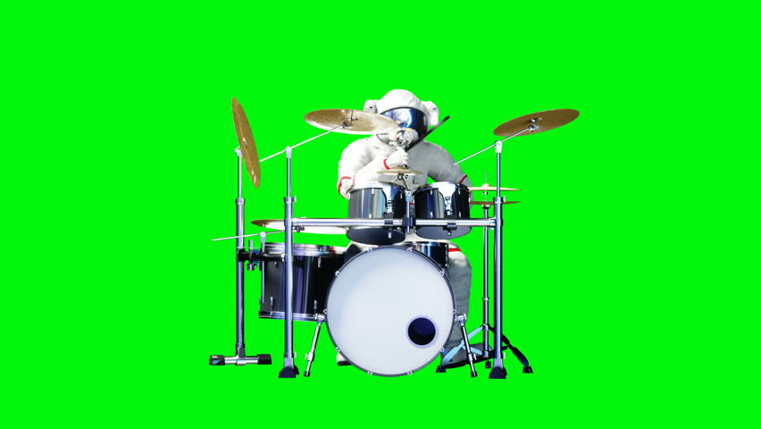 Funny astronaut play to drums . Green screen. Realistic 4k animation. #1010061287