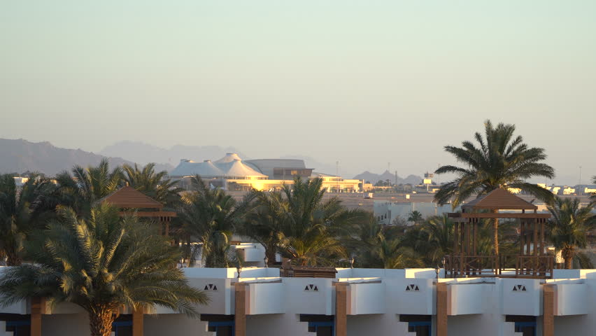 International airport in the tropical paradise. Sharm-El-Sheikh, Egypt | Shutterstock HD Video #1010062007