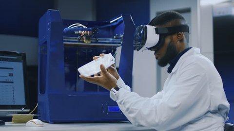 Multiracial men in medical gown exploring 3d scull model in VR glasses.