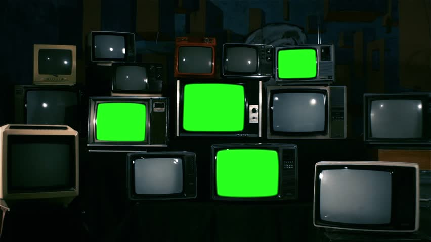 80s Televisions with Green Screens. Zoom In. Ready to replace green screen with any footage or picture you want.  | Shutterstock HD Video #1010083367