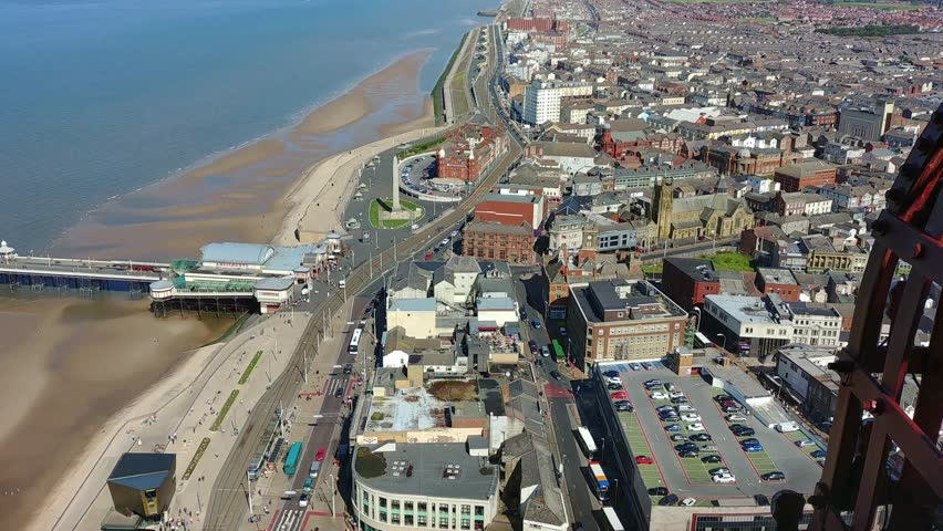 Vertical slow pan from Blackpool Tower looking south