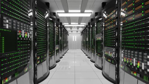 Modern working server room with rack servers. Cloud computing in datacenter, information storage, normal operation of computer with flashing green light indicators. Server error with red indicators