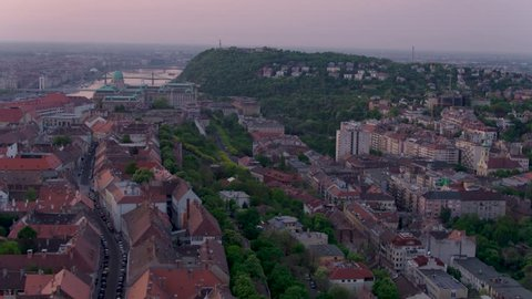 Aerial view of the Matthias Church, the Buda Castle and the Parliament in Budapest sunrise