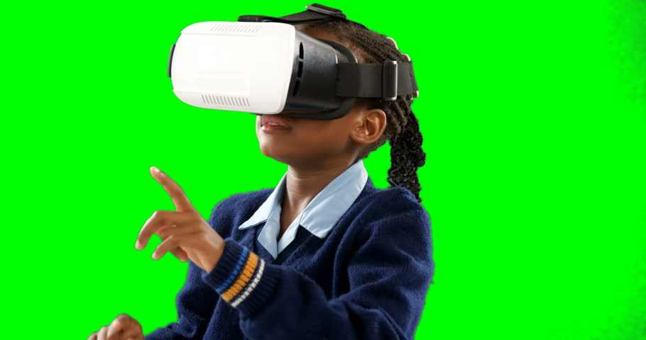Schoolgirl using virtual reality headset against green screen 4k | Shutterstock HD Video #1010149967