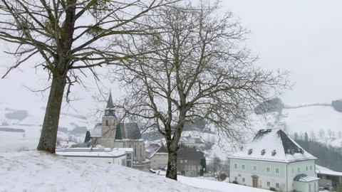WS TU Church in village at winter / Neustift, Upper Austria, Austria
