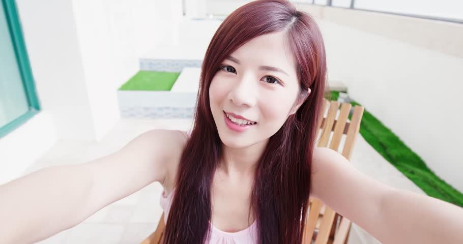 Beauty woman selfie happily in the room | Shutterstock HD Video #1010174687