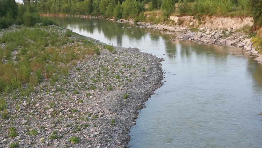 Secchia river near Sassuolo in the province of Modena | Shutterstock HD Video #1010199587