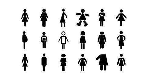 a sequence made from different graphic images of female signage and icons