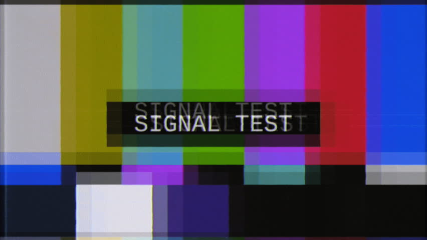 An old damaged VHS test tape with many different screen patterns and recordings.