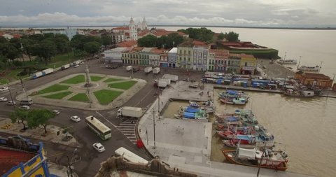 Aerial approaching colonial facades in old port town of Belem do Para in the Brazilian Amazon