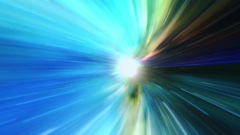 Warp speed!  Travel through space and time at the speed of light with this high energy visualization of flying through hyperspace.