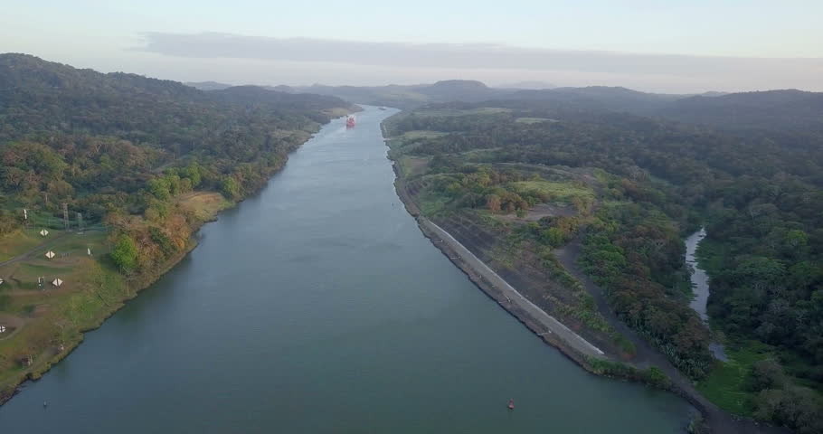 Flight over Panama Canal Aerial view of Panama Canal  | Shutterstock HD Video #1010227817