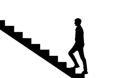 Silhouette Man walking stairs on white. Way to success loopable concept. Career ladder.