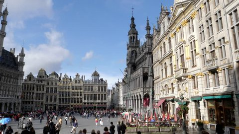panning left clip of the historic city hall and grand place in brussels, belgium