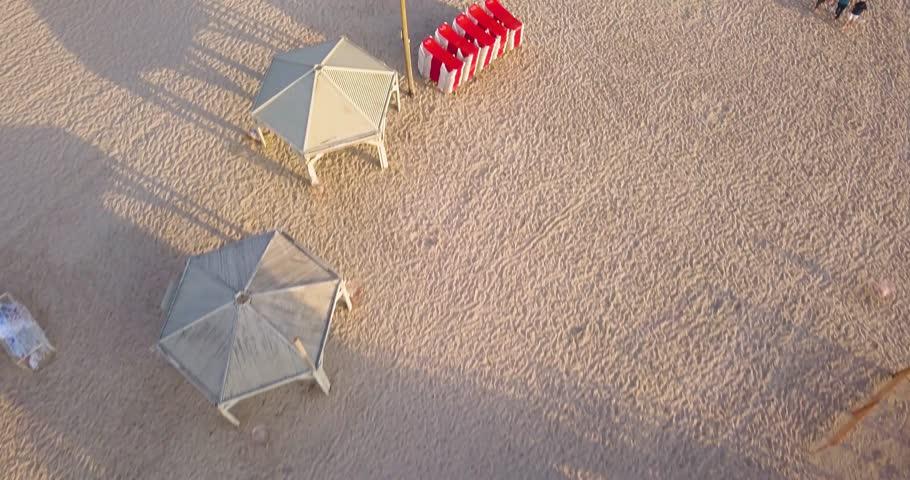 Tel Aviv beach 4k aerial drone footage | Shutterstock HD Video #1010366507