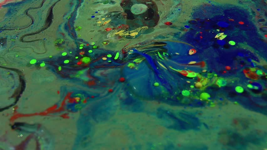 Slow Motion Macro Abstract Pattern Artistic Concept Oil Surface Moving Surface Liquid Paint Splashing Art Design | Shutterstock HD Video #1010384567