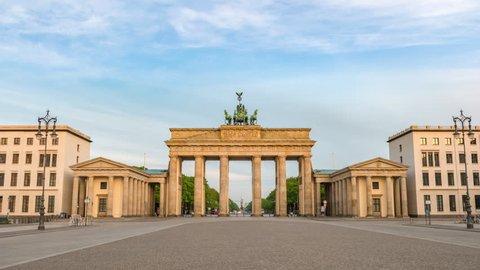 Berlin city skyline timelapse at Brandenburg Gate (Brandenburger Tor), Berlin, Germany 4K Time lapse
