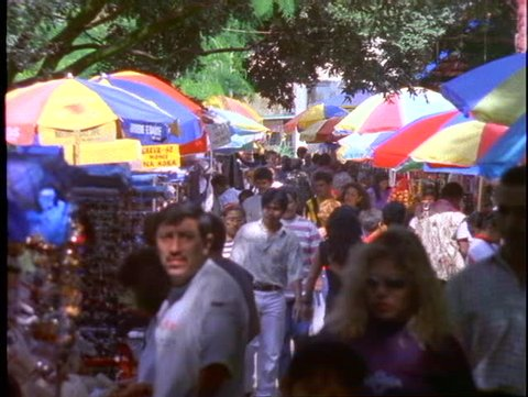 BRAZIL, 1998, Manaus, colorful market with crowds