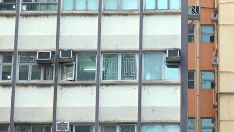 HONG KONG - CIRCA APRIL 2018 : Close-up shot of windows of residential apartment.