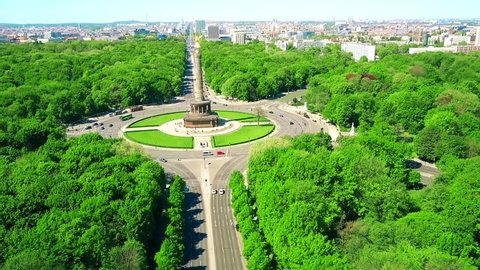 Aerial view of famous Berlin Victory Column and distant cityscape, Germany