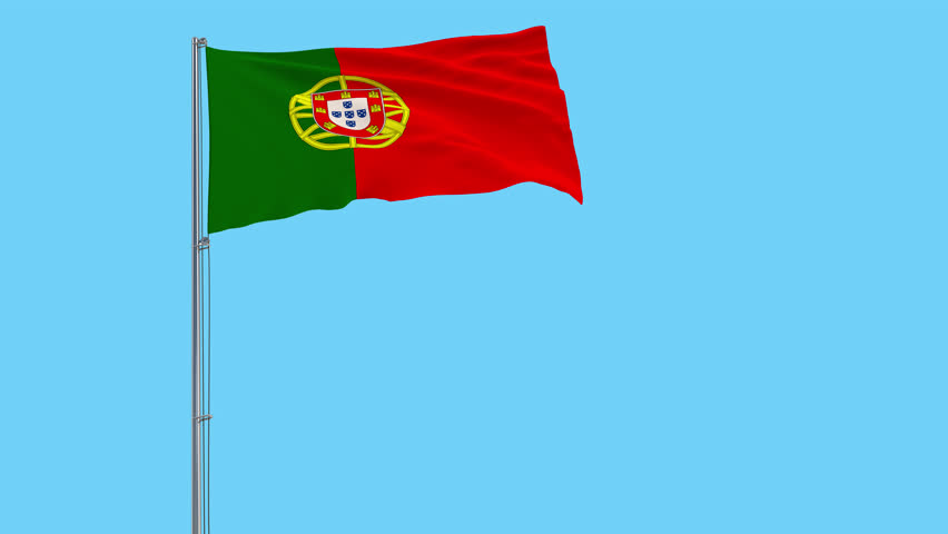 Isolate flag of Portugal on a flagpole fluttering in the wind on a transparent background, 3d rendering, 4k prores footage, alpha transparency.