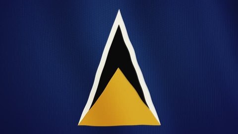 Saint Lucia flag waving animation. Full Screen. Symbol of the country.