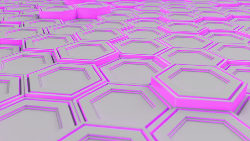 Abstract technological background made of white hexagons with purple glow. Wall of hexagons. 3D render illustration | Shutterstock HD Video #1010586107