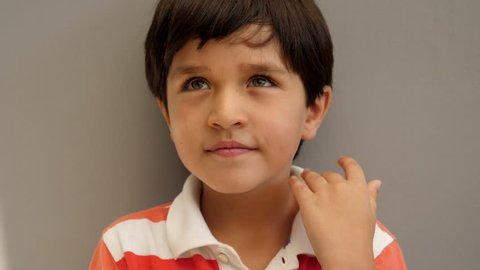 Cute kid smiling in polo shirt smiling to camera