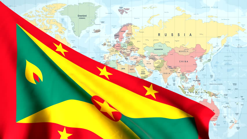 The waving flag of Grenada opens up the view to the position of Grenada on a colored world map