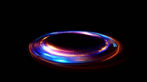 Abstract circle. Shine ring.  Glare sci fi.  Space tunnel. LED color ellipse. Glint glitter. Shimmer loop motion.  Empty hole. Glow portal. Astral spin. Bright disc. Magic stand.