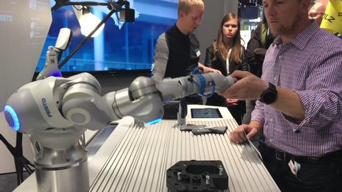 Hannover, Germany - April, 2018: Festo presenting bionic workplace on Messe fair in Hannover, Germany