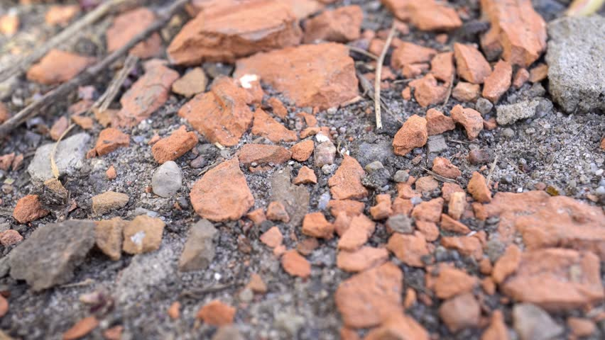 4k Pieces Of Brick On The Ground