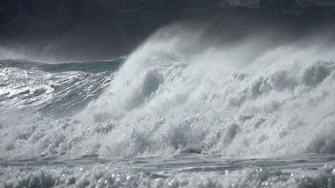 Ocean sea spray great wind waves stormy sea