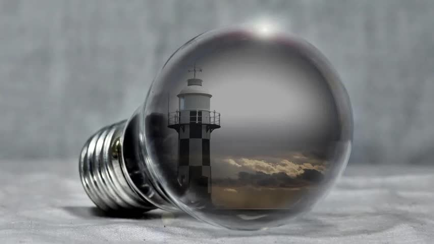 Lighthouse pear light bulb sea | Shutterstock HD Video #1010740967