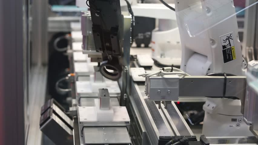 Hannover, Germany - April, 2018: Yamaha advanced robotics automation platform with automatic robot arm integrated control inspection on Messe fair in Hannover, Germany #1010741237
