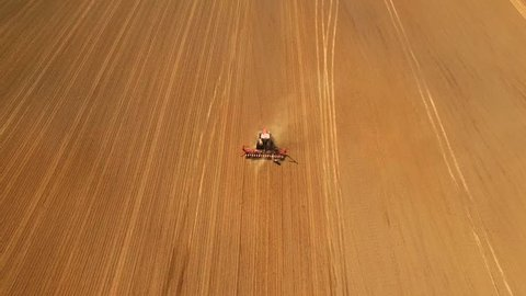 Row Crop Tractor cultivating land. Aerial of red tractor on harvest field (top view from height). Tractor cultivating arable land for seeding crops.