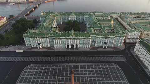 Aerial view on Palace Square, Hermitage and Neva river in Saint-Petersburg in Russia. The center of the city. Sightseeing. Early summer morning near Hermitage - Winter Palace.